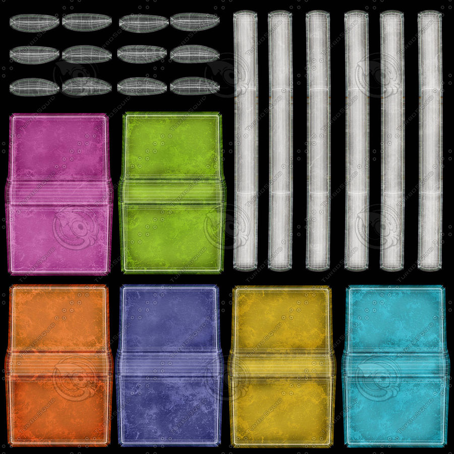 Colorful Books (Old) royalty-free 3d model - Preview no. 19