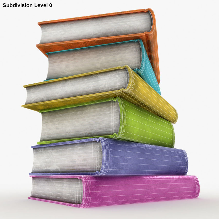 Colorful Books (Old) royalty-free 3d model - Preview no. 14