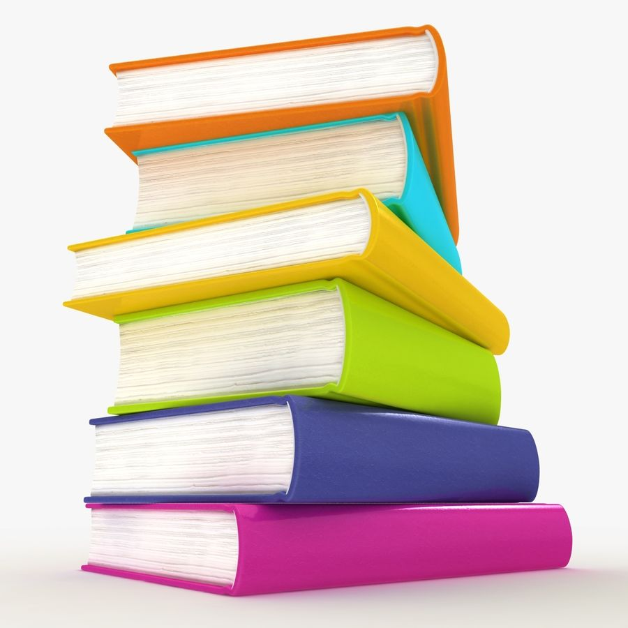 Colorful Books royalty-free 3d model - Preview no. 2