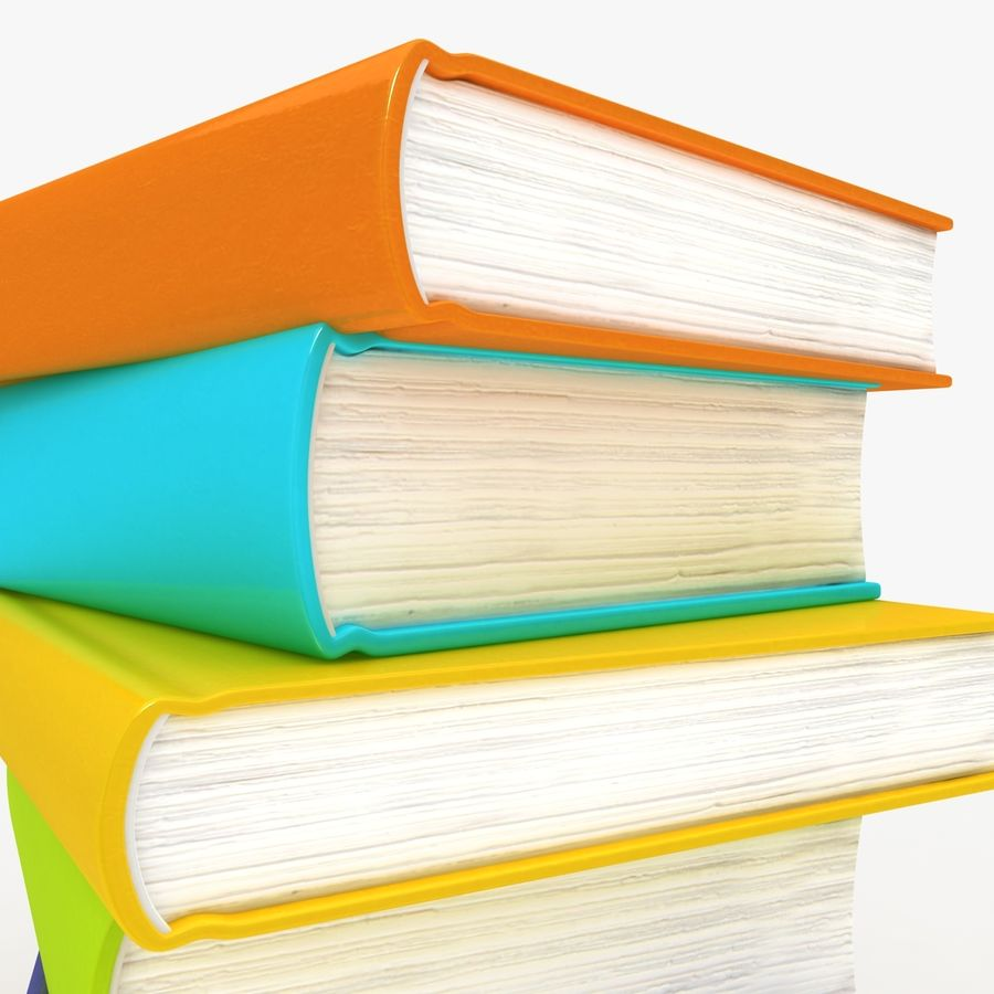 Colorful Books royalty-free 3d model - Preview no. 3