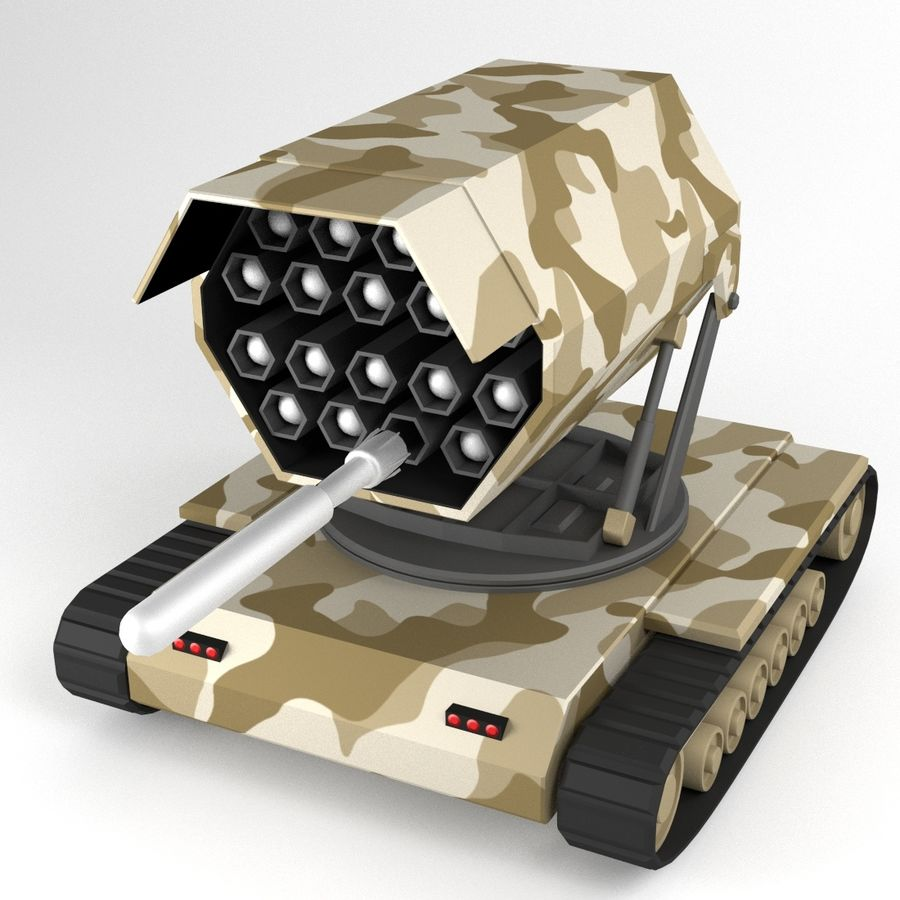 Rocket Launcher Tracked Vehicle royalty-free 3d model - Preview no. 7