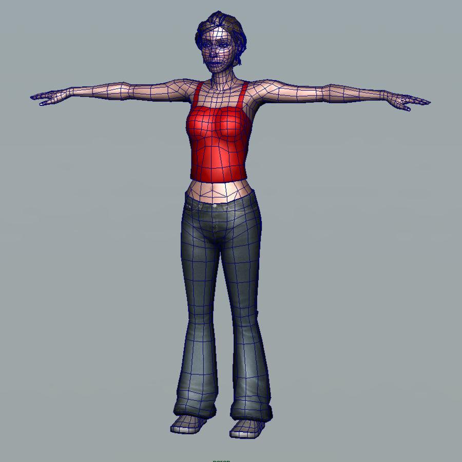 청바지에 소녀 royalty-free 3d model - Preview no. 4