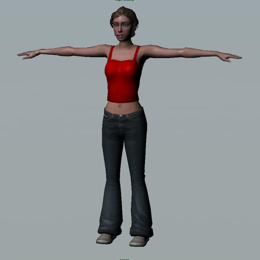 청바지에 소녀 royalty-free 3d model - Preview no. 6