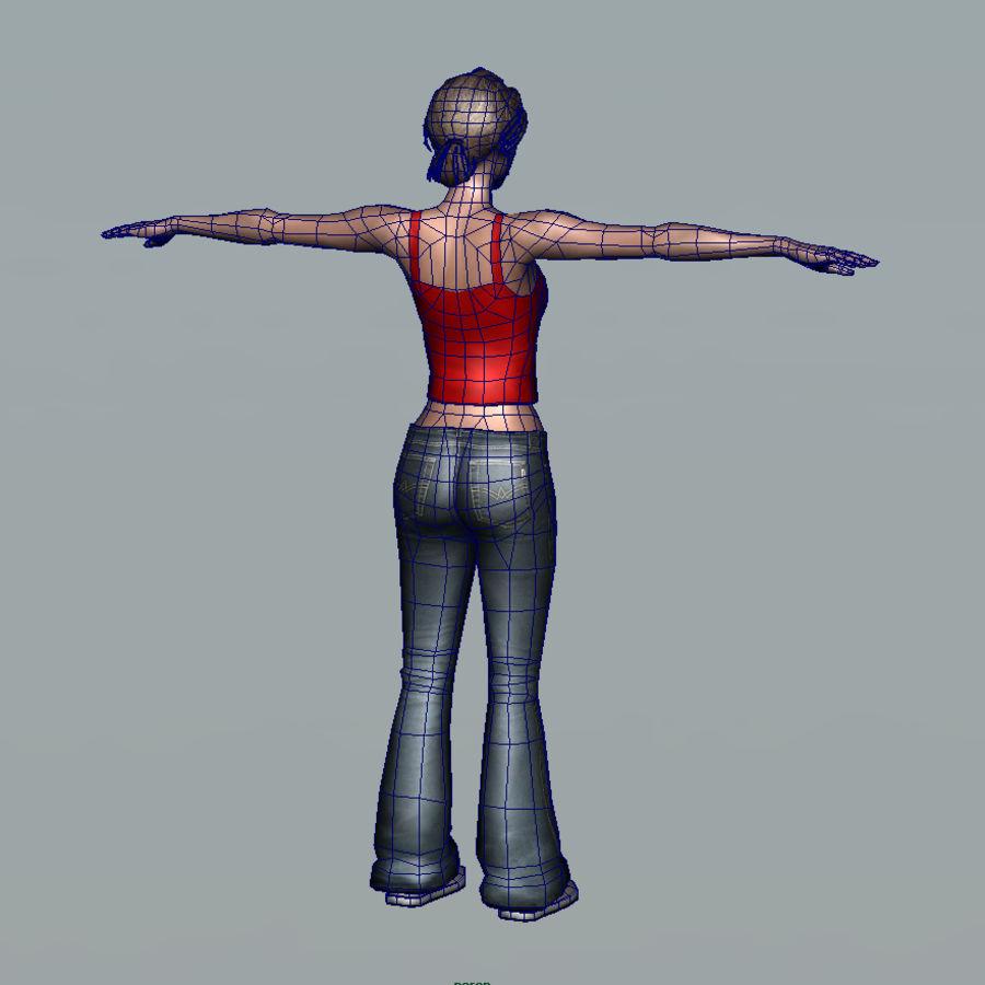 청바지에 소녀 royalty-free 3d model - Preview no. 8