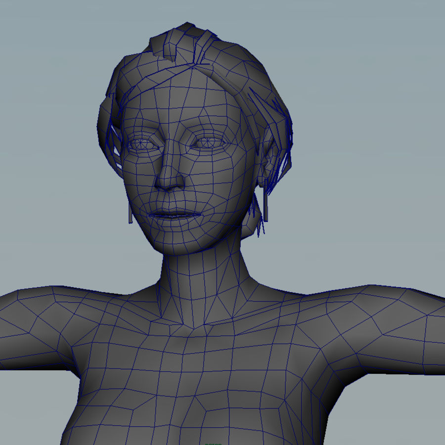 청바지에 소녀 royalty-free 3d model - Preview no. 9