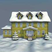dom zimowy żółty 3d model