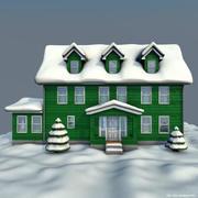겨울 집 녹색 3d model