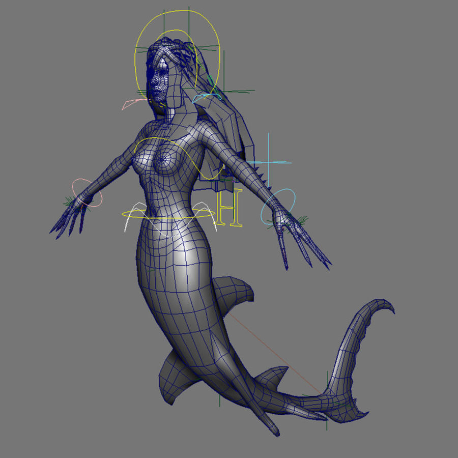 mermaid royalty-free 3d model - Preview no. 8