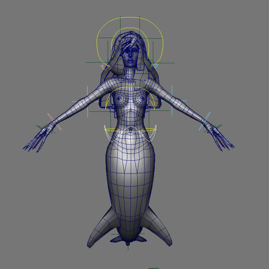 mermaid royalty-free 3d model - Preview no. 7