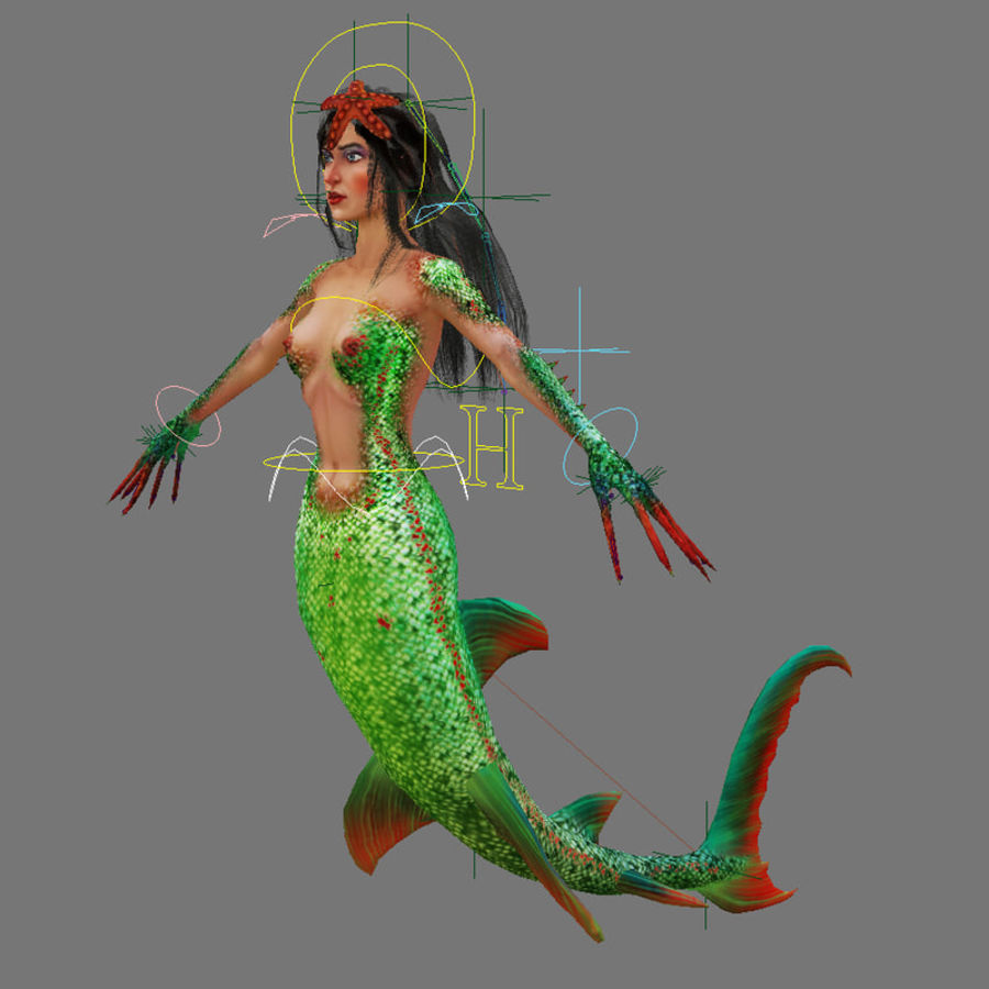 mermaid royalty-free 3d model - Preview no. 10