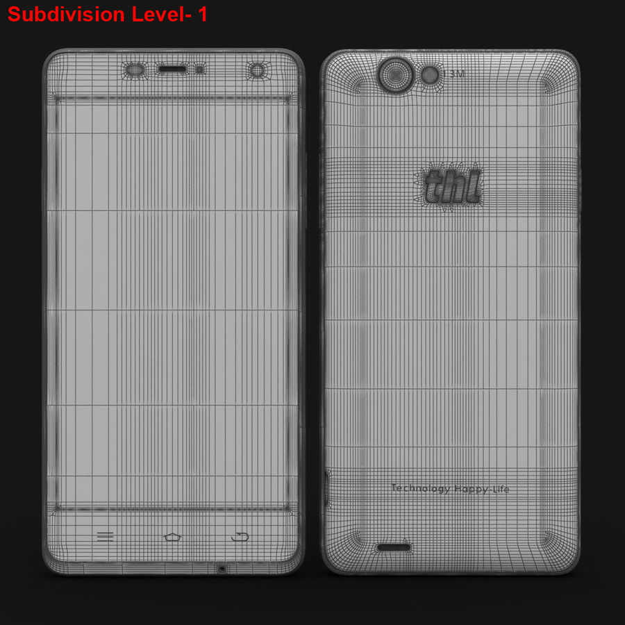 THL 5000 Smart Phone royalty-free 3d model - Preview no. 28