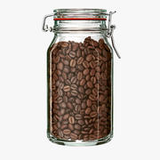 Pot met koffiebonen 3d model