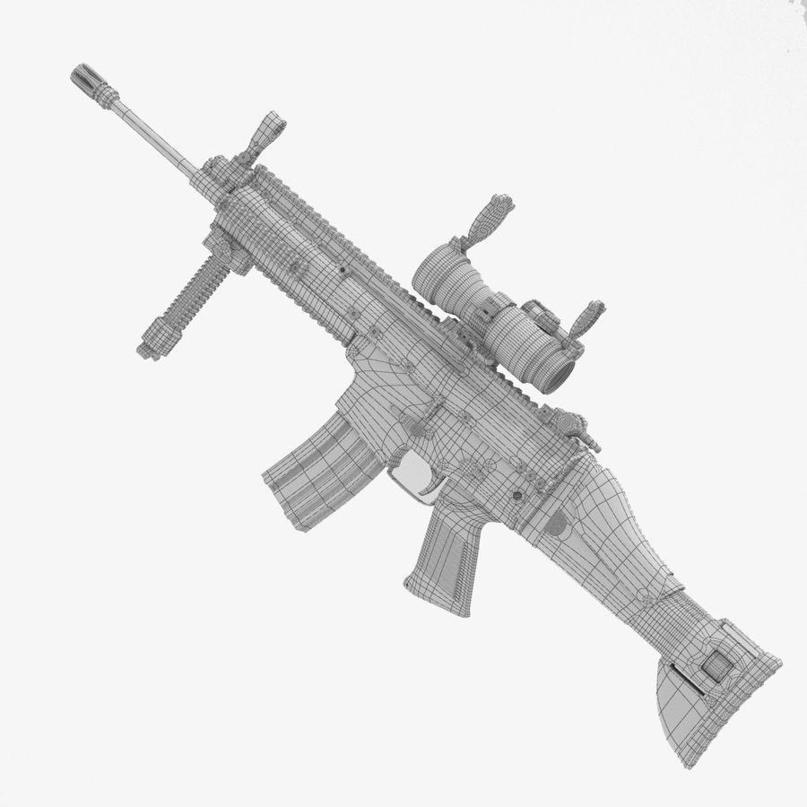 Fucile d'assalto da combattimento FN SCAR L royalty-free 3d model - Preview no. 6