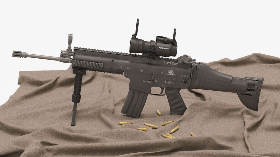 Fucile d'assalto da combattimento FN SCAR L royalty-free 3d model - Preview no. 12
