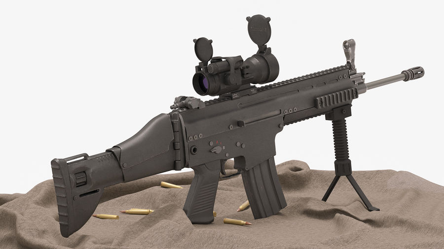 Fucile d'assalto da combattimento FN SCAR L royalty-free 3d model - Preview no. 13