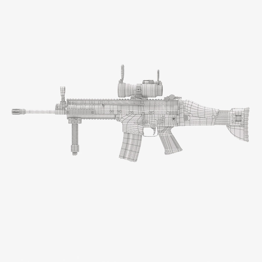 Fucile d'assalto da combattimento FN SCAR L royalty-free 3d model - Preview no. 3