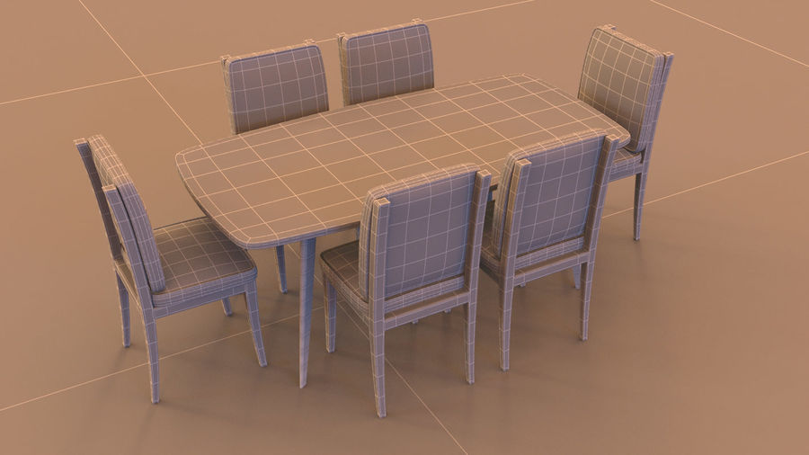 Stół i krzesła royalty-free 3d model - Preview no. 4