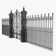 Portão e cerca de ferro forjado 3d model