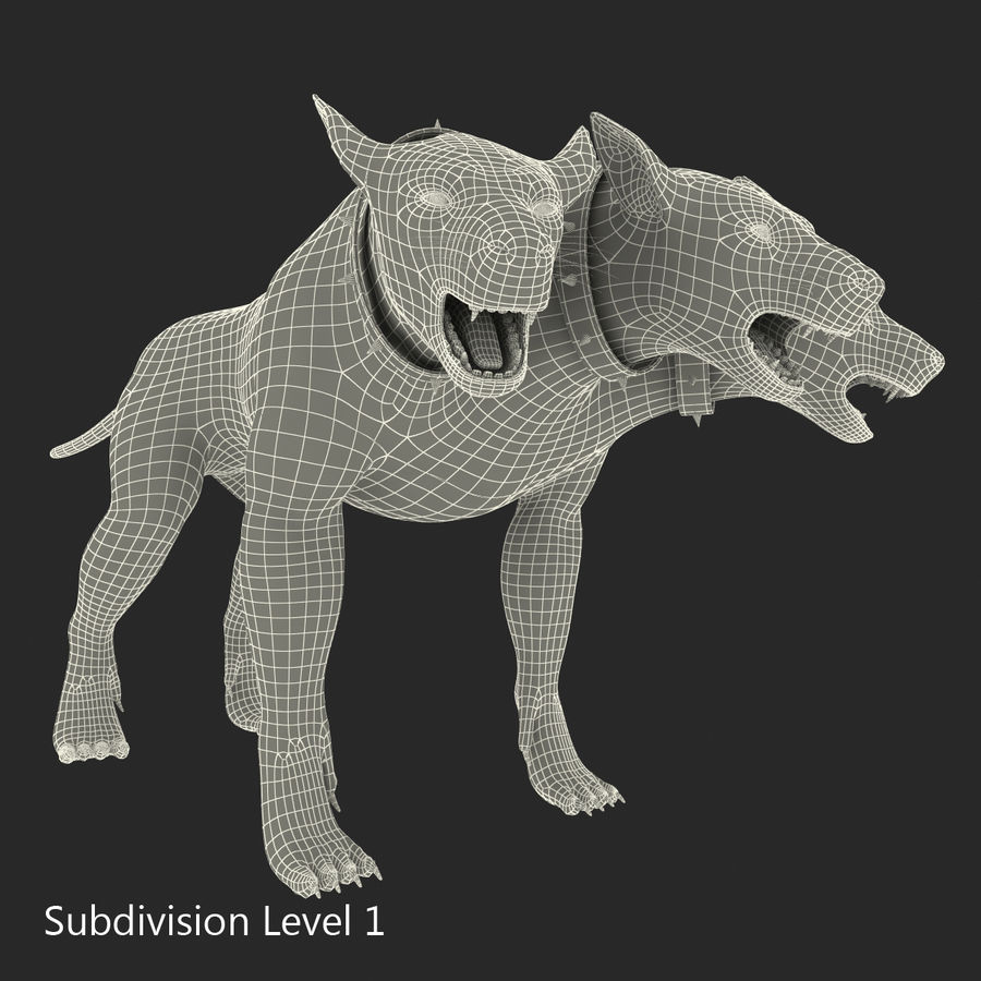 Cerbero de perro de tres cabezas royalty-free modelo 3d - Preview no. 24