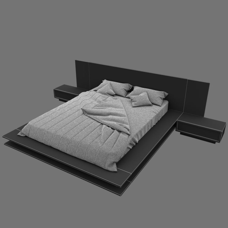 Fine Wood Bed royalty-free 3d model - Preview no. 14