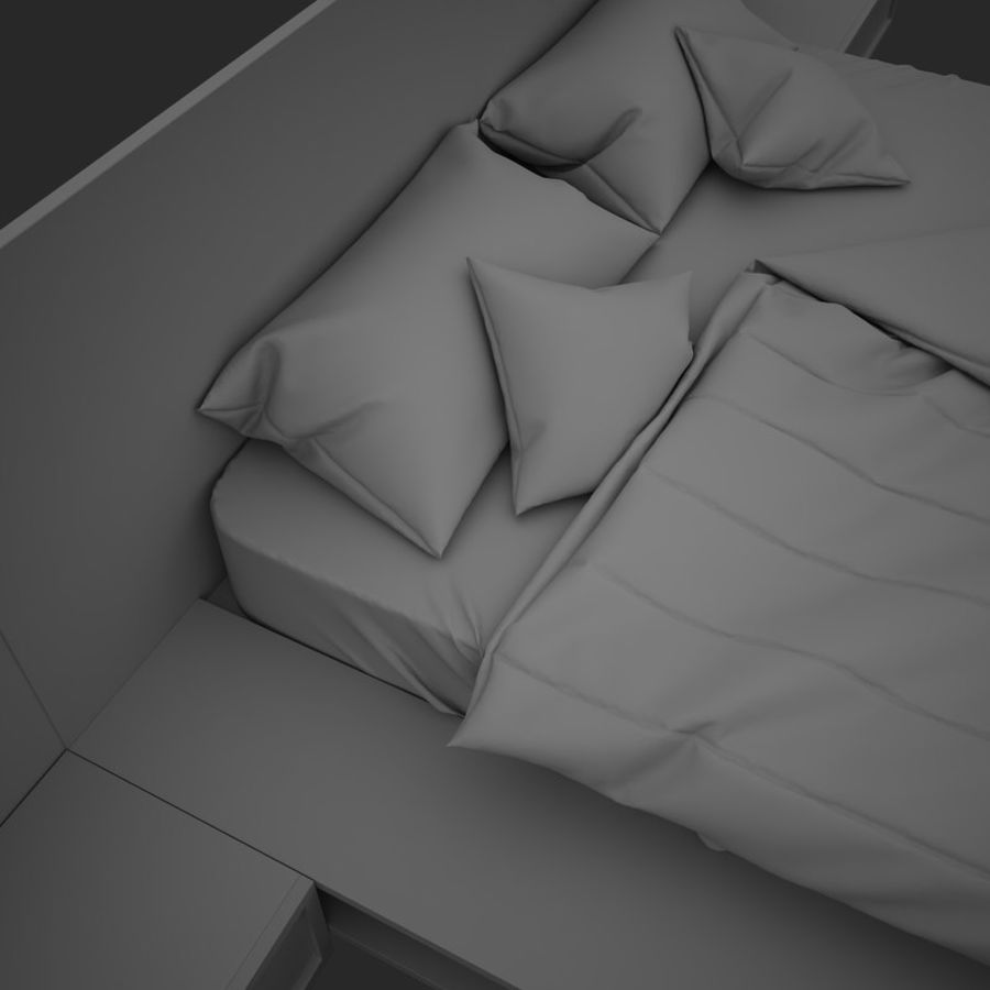 Fine Wood Bed royalty-free 3d model - Preview no. 11