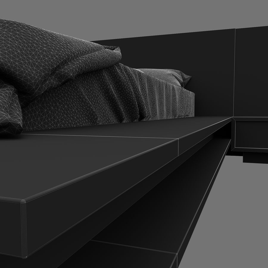 Fine Wood Bed royalty-free 3d model - Preview no. 16