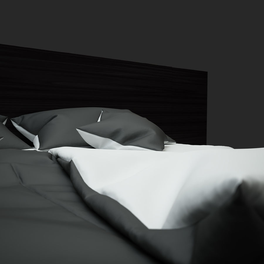 Fine Wood Bed royalty-free 3d model - Preview no. 7