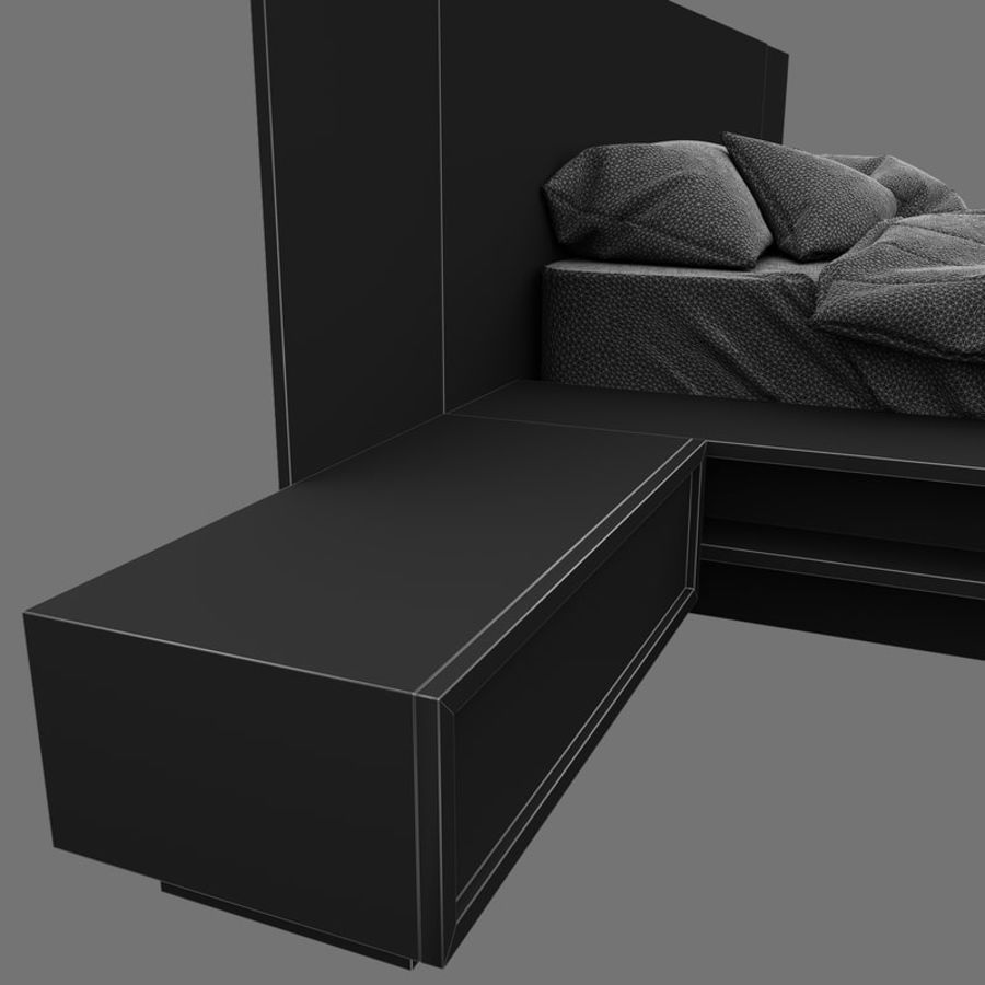 Fine Wood Bed royalty-free 3d model - Preview no. 15