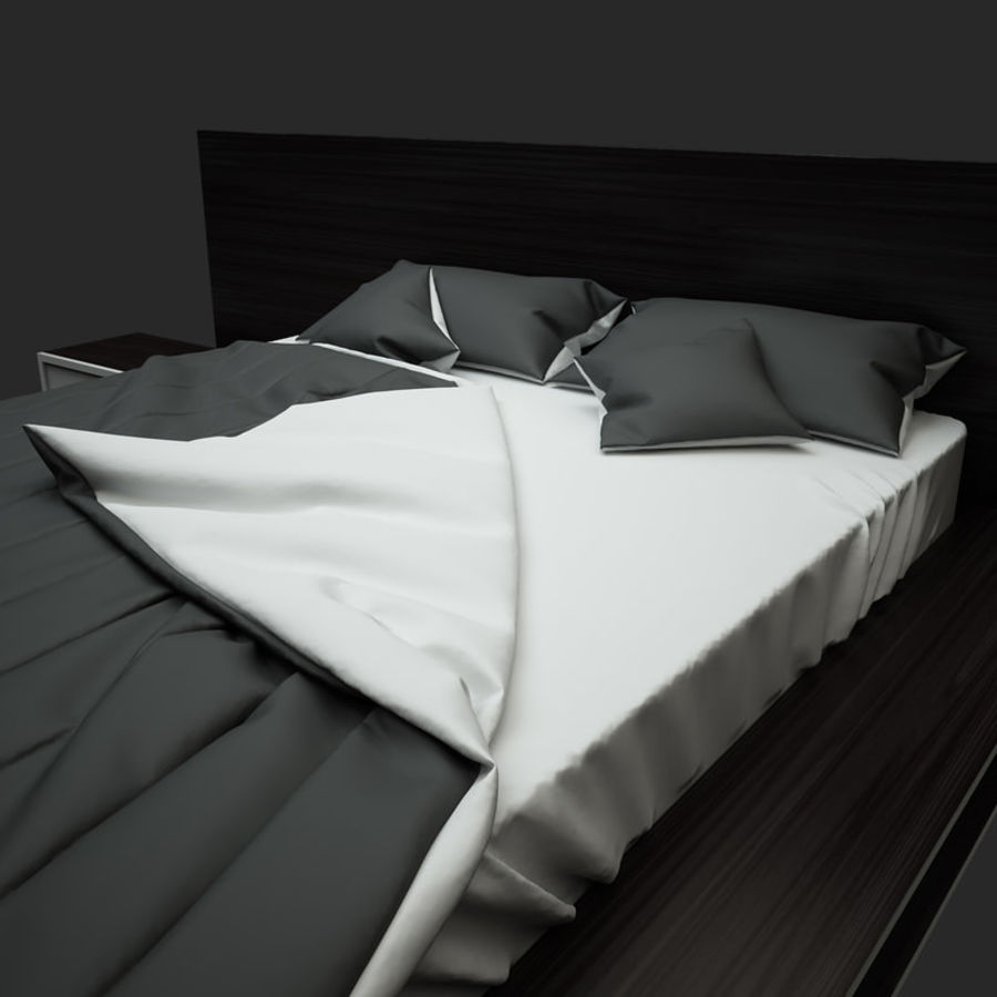 Fine Wood Bed royalty-free 3d model - Preview no. 6