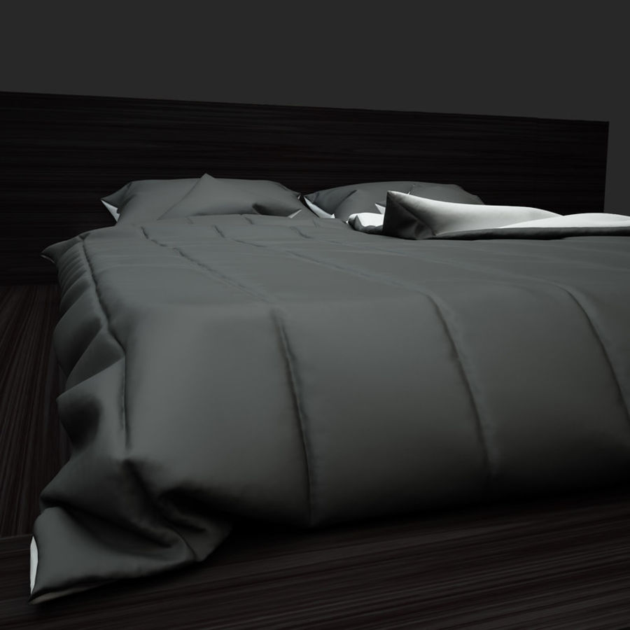 Fine Wood Bed royalty-free 3d model - Preview no. 5