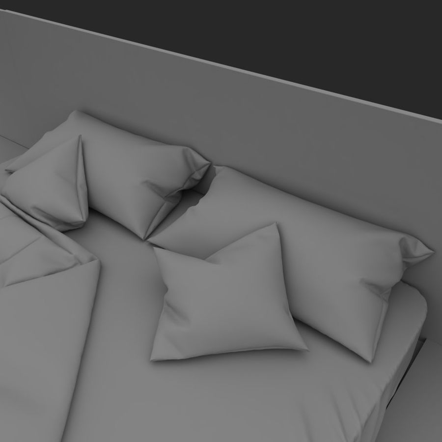 Fine Wood Bed royalty-free 3d model - Preview no. 13