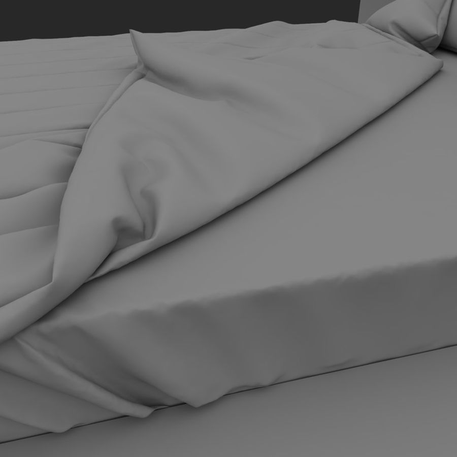 Fine Wood Bed royalty-free 3d model - Preview no. 12