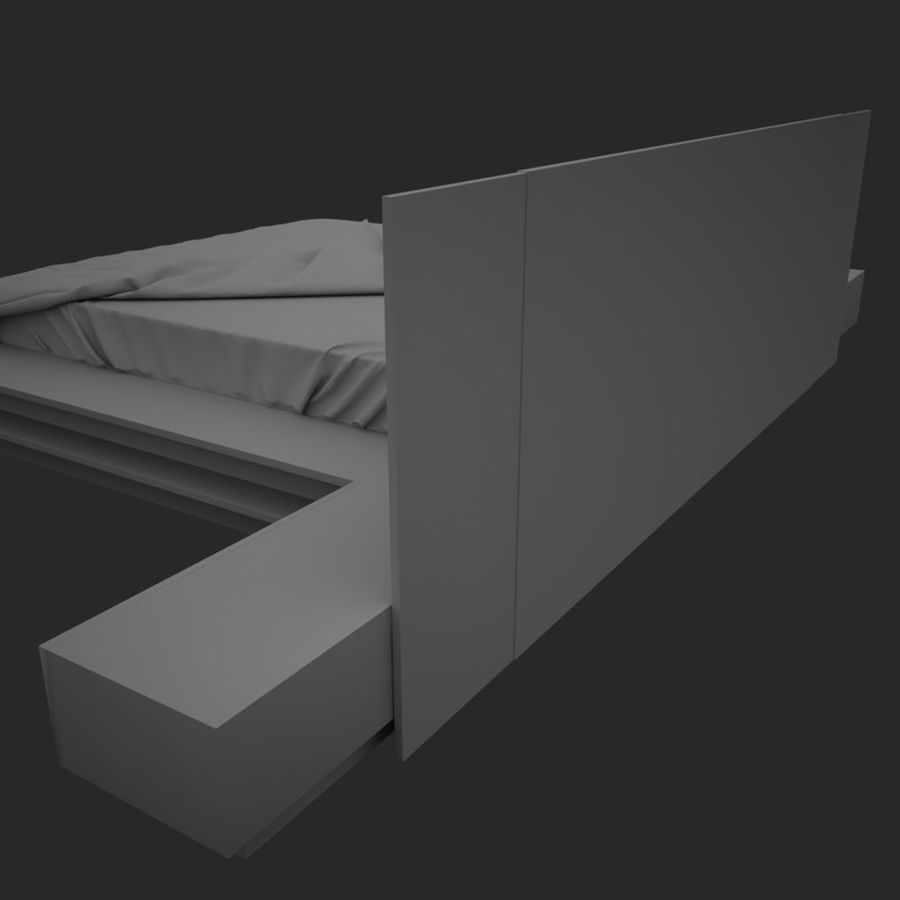 Fine Wood Bed royalty-free 3d model - Preview no. 10