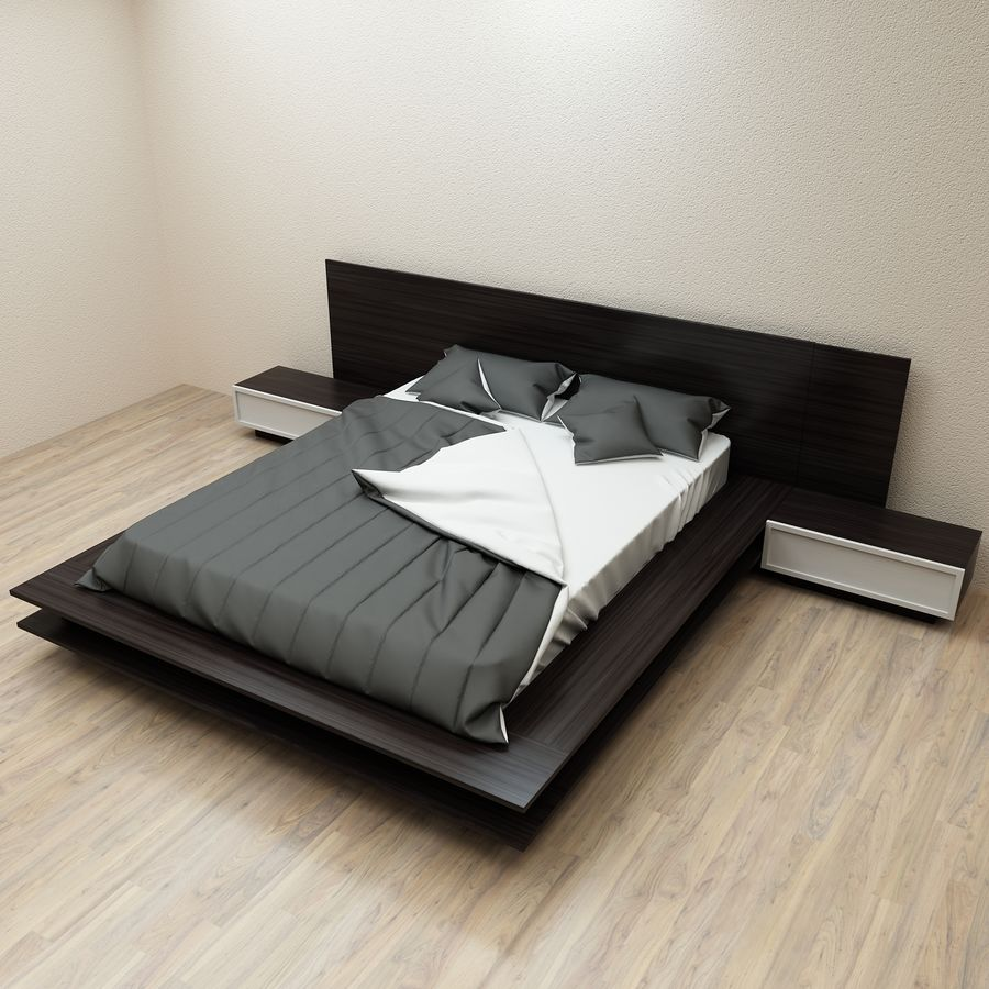 Fine Wood Bed royalty-free 3d model - Preview no. 2