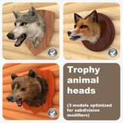Trophy Animal Heads 3d model