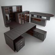 Ofis mobilyaları kümesi. 3d model