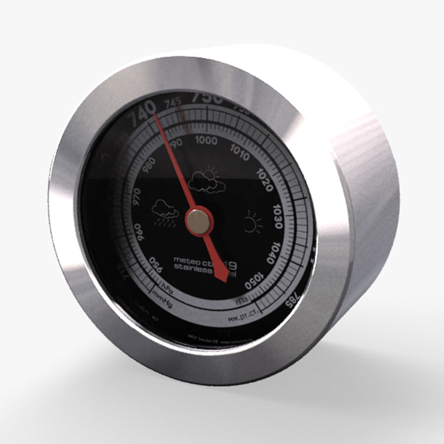 Barometer from table weather station RST meteo ctrl 19 royalty-free 3d model - Preview no. 1