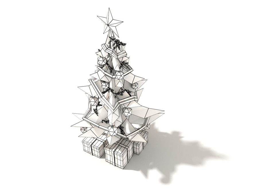 Style Xmastree Lowpoly royalty-free 3d model - Preview no. 2