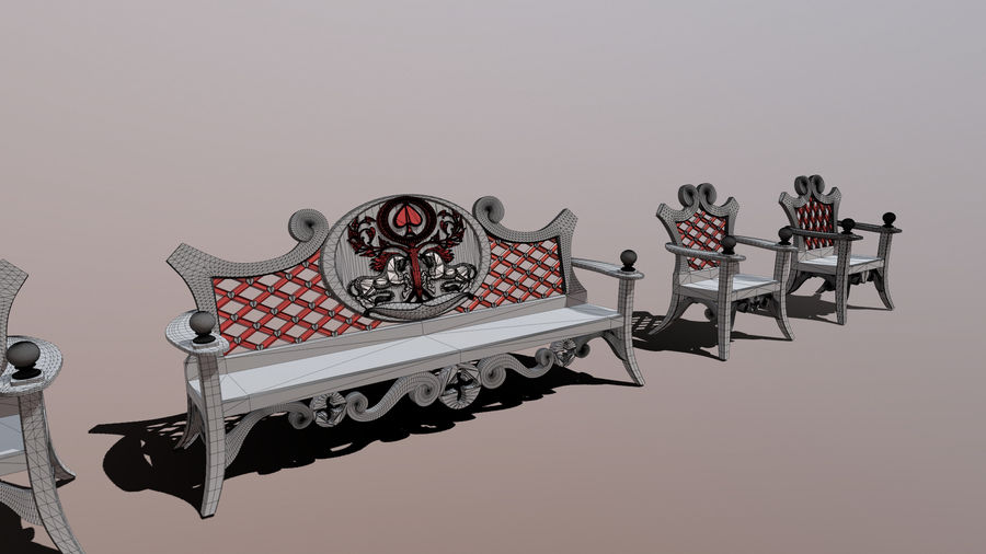 Bench & Chair royalty-free 3d model - Preview no. 3