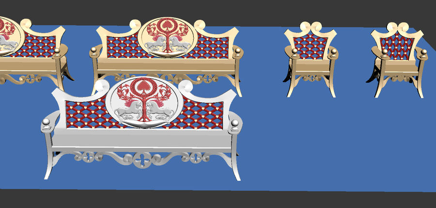 Bench & Chair royalty-free 3d model - Preview no. 6