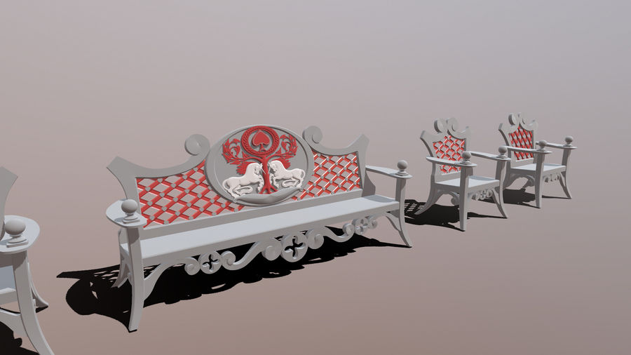 Bench & Chair royalty-free 3d model - Preview no. 1