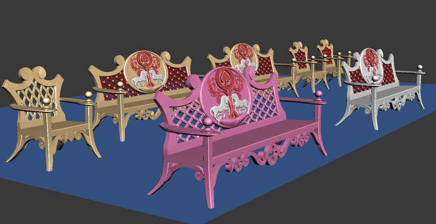 Bench & Chair royalty-free 3d model - Preview no. 4
