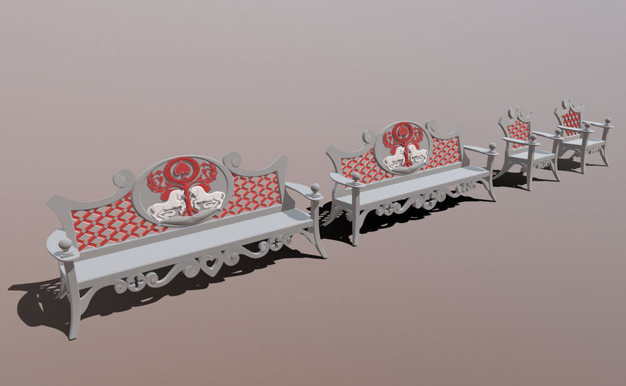 Banco y silla royalty-free modelo 3d - Preview no. 2