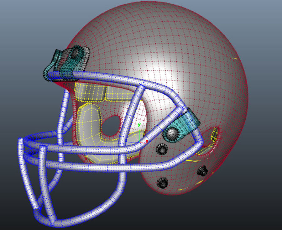 Football Helmet royalty-free 3d model - Preview no. 6