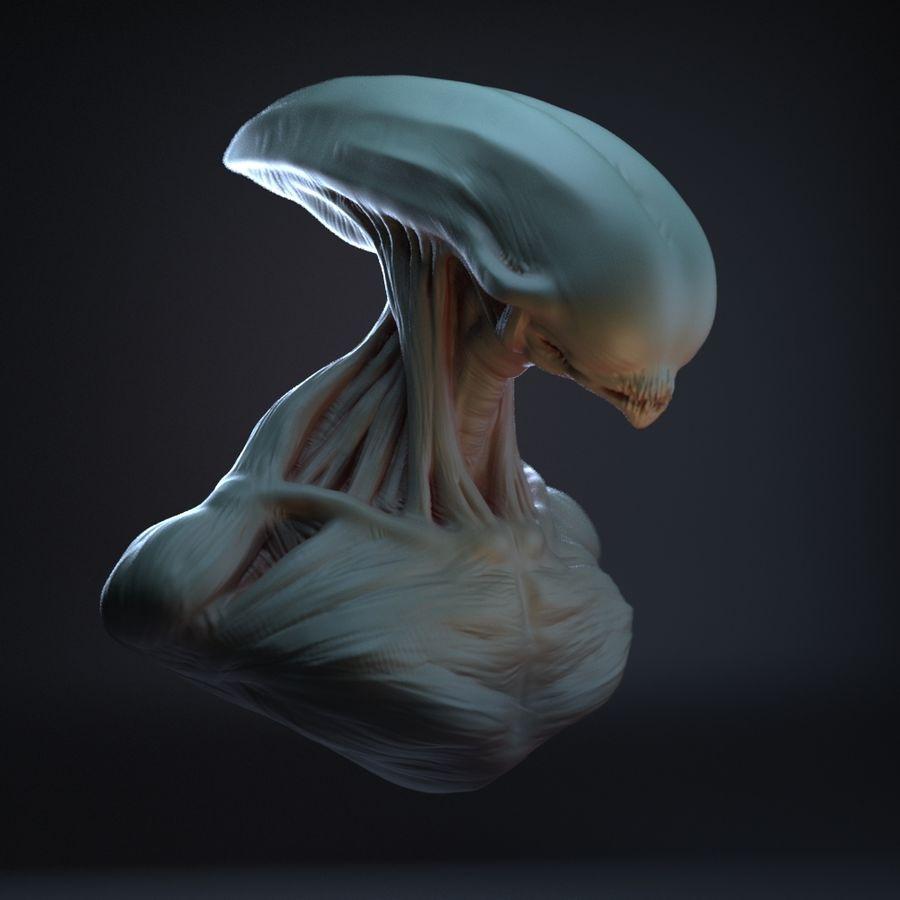 голова инопланетянина royalty-free 3d model - Preview no. 7