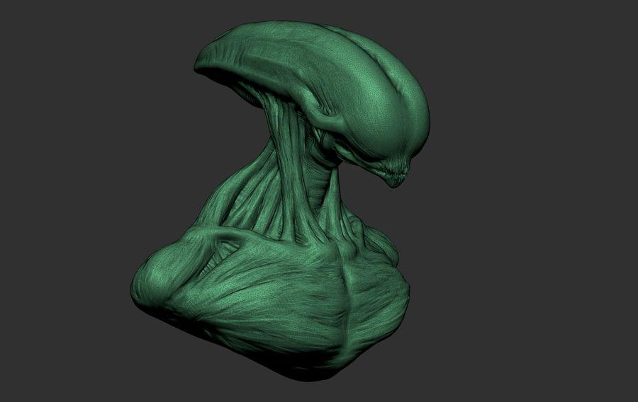 голова инопланетянина royalty-free 3d model - Preview no. 3