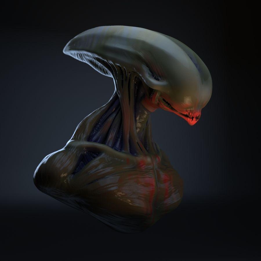 голова инопланетянина royalty-free 3d model - Preview no. 8