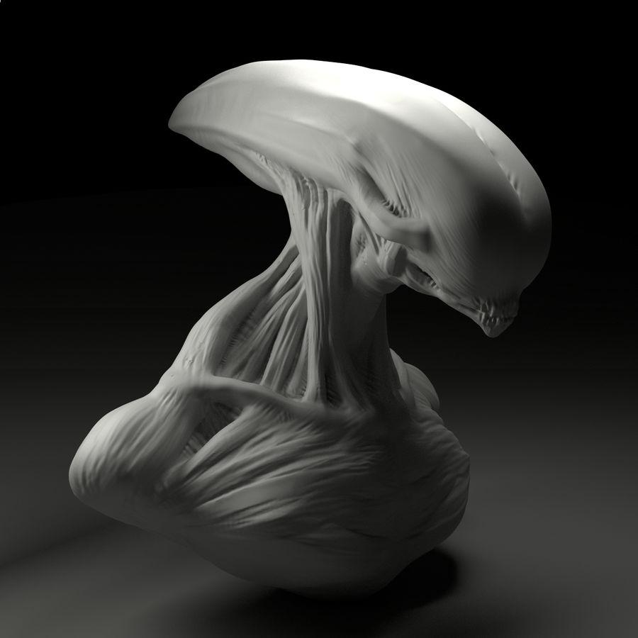 голова инопланетянина royalty-free 3d model - Preview no. 5
