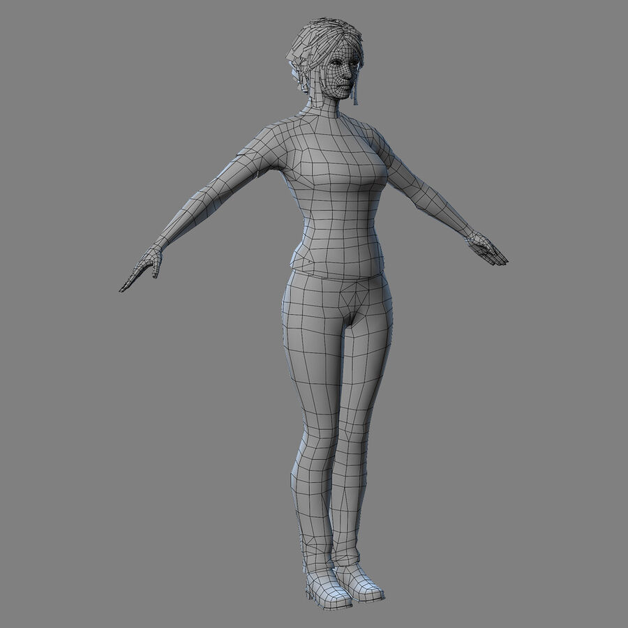 MMORPG(女性身体)的角色 royalty-free 3d model - Preview no. 19