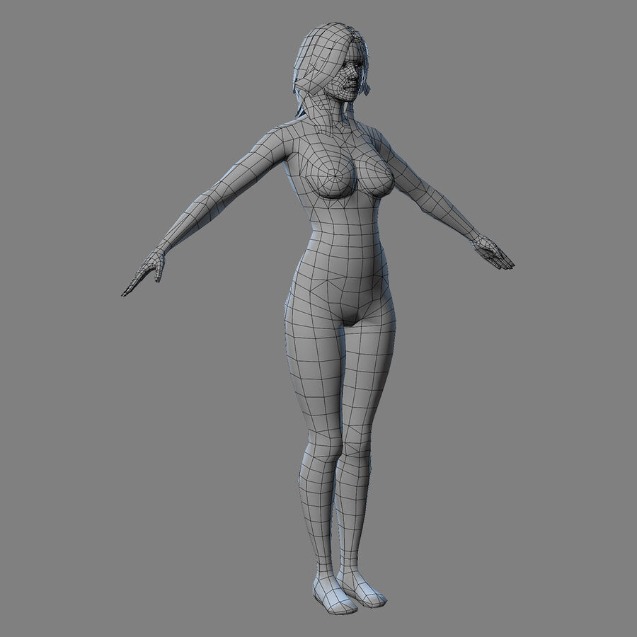 MMORPG(女性身体)的角色 royalty-free 3d model - Preview no. 21